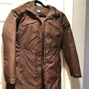 Practically new North Face down coat w/ faux fur